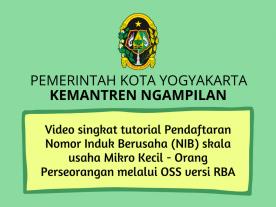 Video singkat tutorial pendaftaran Nomor Induk Berusaha (NIB) dengan sistem OSS versi RBA